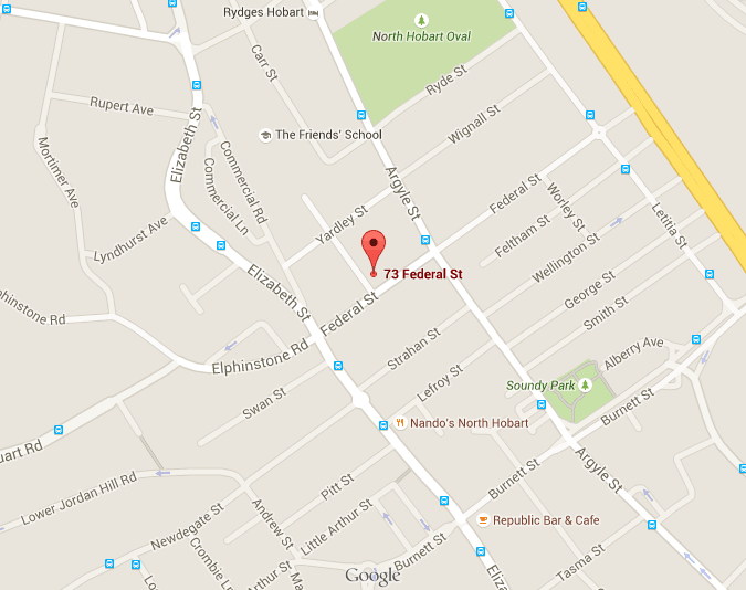 map for Insight Physio, 73 Federal Street,North Hobart